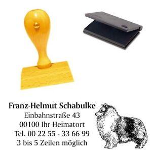 Adressenstempe<wbr/>l « SHETLAND SHEEPDOG » mit Kissen - Hundeschule Sheltie Shelti