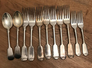 VTG-RODGERS-A1-X7-Silver-Plated-Fiddle-Handle-Dinner-Forks-Desert-Spoons-amp-Forks