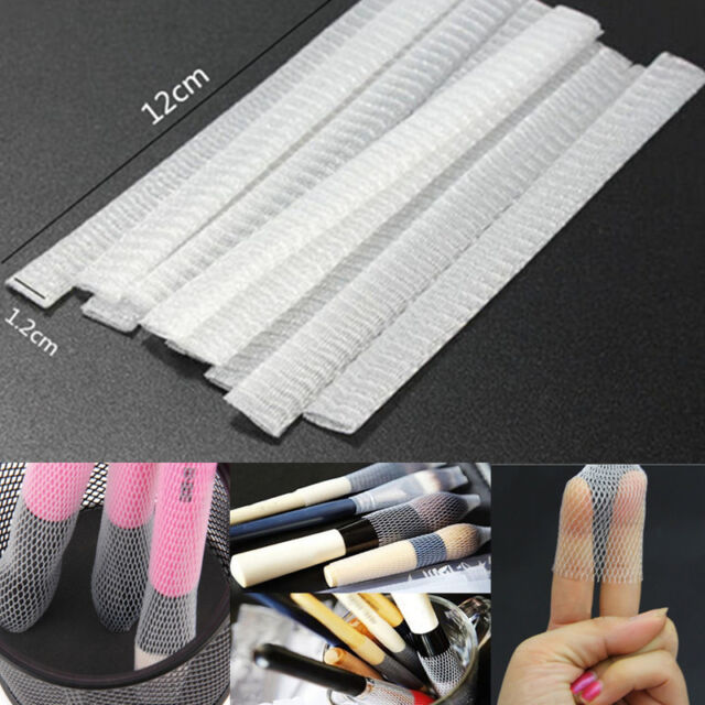 20PCS White Sheath Net Cosmetic Make Up Brushes Guards Mesh Protectors Cover