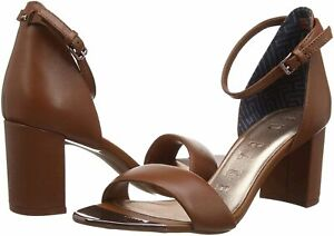 Ted-Baker-Women-039-s-Ankle-Strap-Heeled-Sandal-Dark-tan-Size-8-5-KPyW