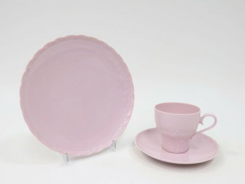 3 Pcs Café Couvert Couvert Tasse Assiette de HUTSCHENREUTHER porcelaine rose