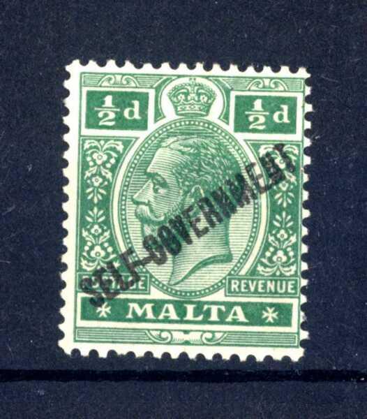 """100% De Qualité Malta - 1922 - Effigie Di Giorgio V Soprastampa """"self-government"""" ½ P. Mh (a)"""
