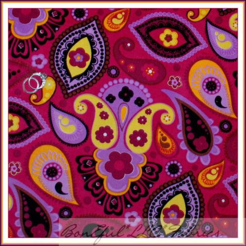BonEful Fabric FQ Corduroy Cotton VTG Rainbow Flower Dot PAISLEY Medallion Toile