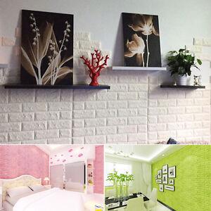 3d teja adhesivos pared autoadhesivo espuma papel pintado panel habitaci n q1 ebay - Papel pared autoadhesivo ...