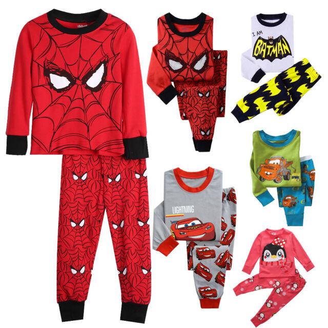 Kids boys anime theme pajamas set Size 2T-7T Cotton sleepwear nightwear pyjamas