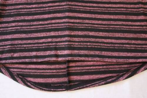 NEW Girls Top Small 6-6X Pink Black Striped Short Sleeve High Low Shirt School