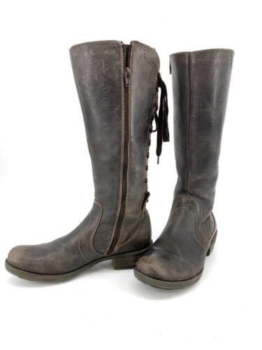 Krisper Knee High Brown Leather Lace Up Waterproof