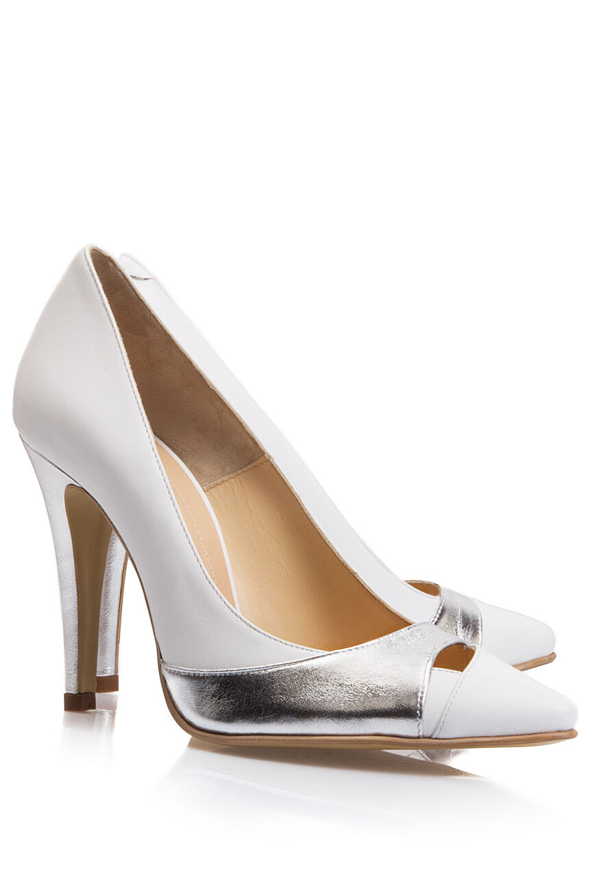 Blanc et Argent Cuir Véritable Talon Aiguille Chaussures Taille 5 (38)