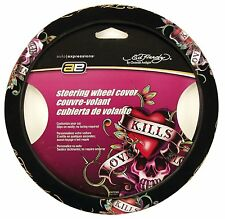 New Ed Hardy Heart Love Kill Slowly Car Truck Universal Fit Steering Wheel Cover