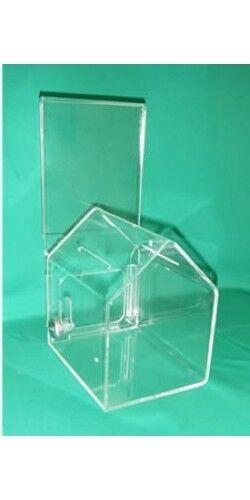 ACRYLIC DOG-HOUSE SHAPED DONATION BOX WITH A CAM LOCK, Item DJ-200