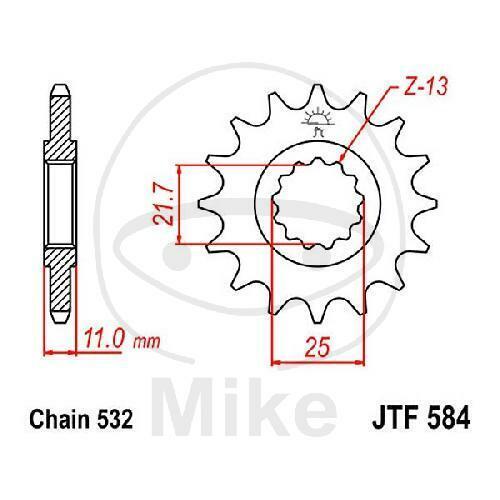 JT Motocicleta Piñón 16 Dientes, Paso 532 JTF584.16
