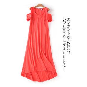 Details about Women Plus Size Maxi Dress Short Sleeve Hot Coral Cold  Shoulder Modal Cotton