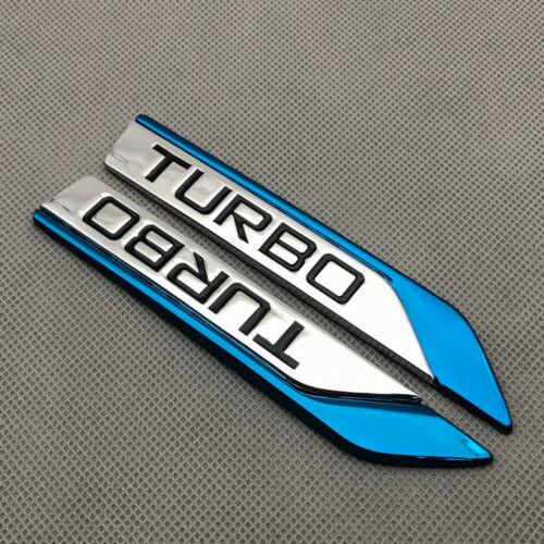 Pair Blue Metal TURBO Fender Logo Emblem Side Wing V6 V8 Sport Badge 3D Sticker