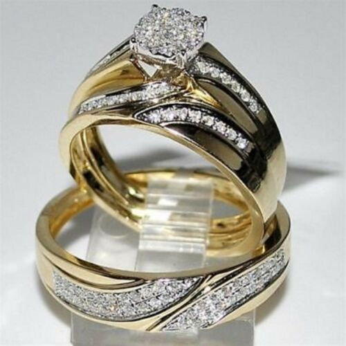 Trio His Her Bridal Engagement Ring Set Diamond Cut Wedding 14K Yellow Gold Over