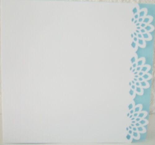 8 x 8 env Pack de 4 bord décoratif cartes vierges avec inserts bleu