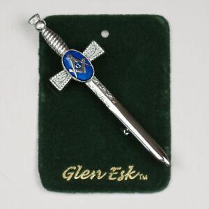 """""""promotion Offre"""" Masonic Chrome Bleu émail écossais Kilt Broche 4 Kilts Prix De Vente-afficher Le Titre D'origine Clair Et Distinctif"""