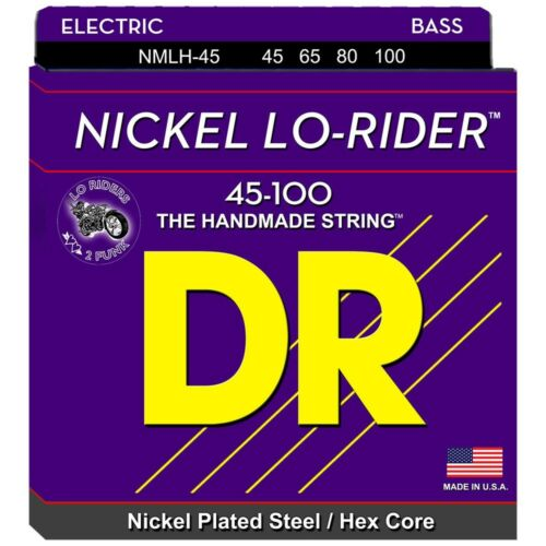 DR NMLH-45 LO-RIDER NICKEL BASS STRINGS 45-100 MEDIUM LIGHT GAUGE 4/'s