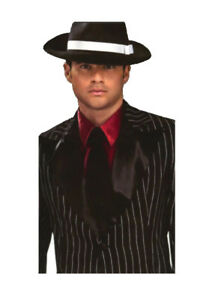 Gangster-Shirt-Front-Red-Poly-Satin-Faux-Shirt-With-Attached-Black-Tie-OS