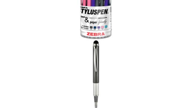 Black Ink ZEBRA PEN CORP StylusPen Telescopic Ballpoint Pen//Stylus Blue//Gray