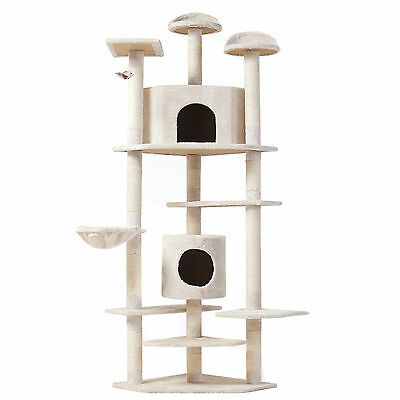 80in High Quality Pet Condo Furniture Cat Tree Scratching Post House - Beige