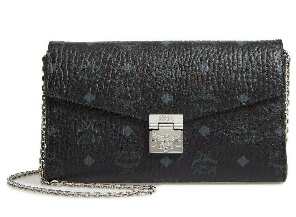 MCM Millie Visetos Black Wallet On a Chain Clutch Bag, NEW NWT, Sold Out