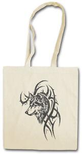 WOLF & TRIBAL STOFFTASCHE EINKAUFSTASCHE Skull Dragon Vikings Norse Odin Thor