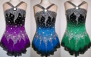 Ice Figure Skating Dress Baton Twirling leotard Tap costume Dance ... c808de54d1a