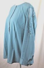 Talbots Button Down Career Top Blouse Pierced Lace Long Sleeves Blue Sz 1X