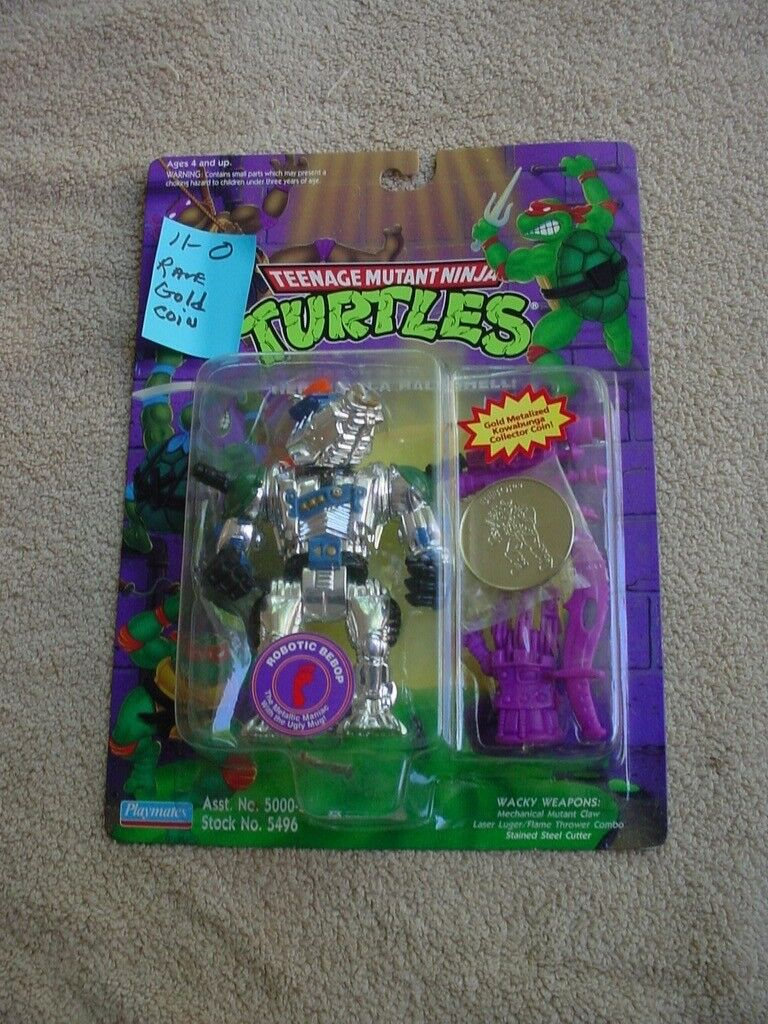 Tmnt  ROBOTIC BEBOP --- WITH VERY RARE -- GOLD  COIN - EX. CARD + BUBBLE