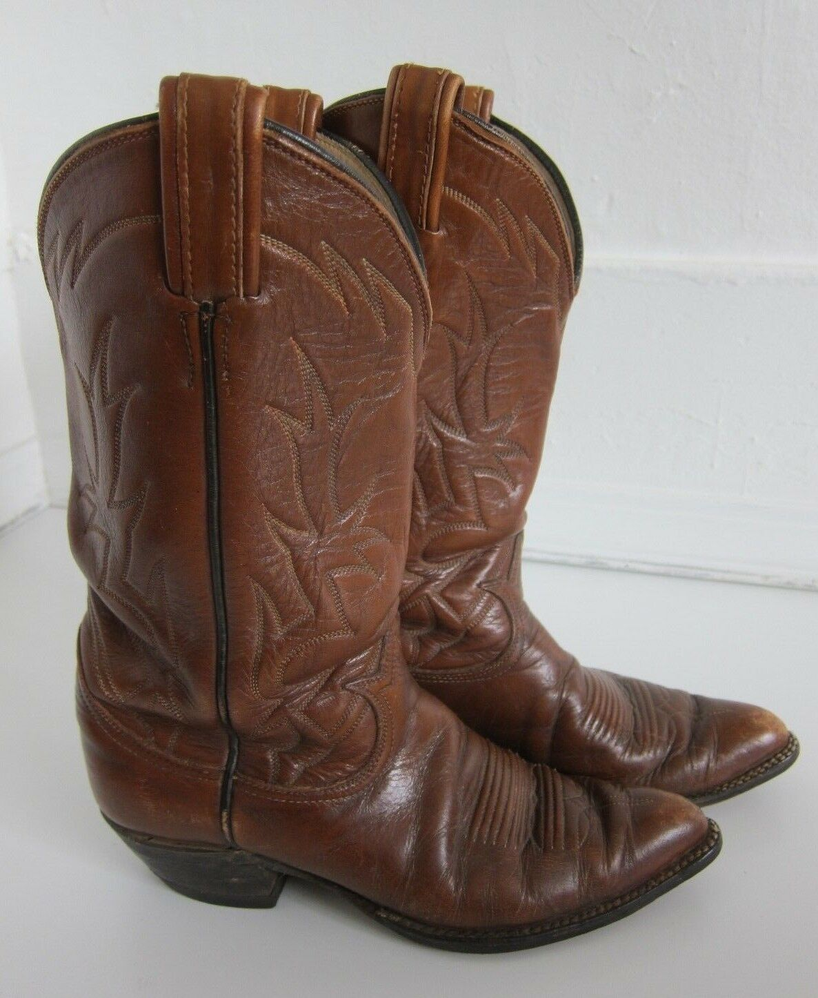 Vintage Tony Lama Tan Brown Leather Western Cowboy Boot Women's Size 7