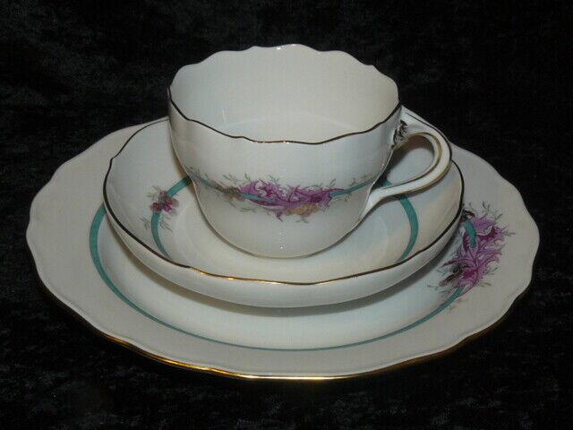 ⚔ Meissen 邁森  Reicher Drache purpur Kaffeegedeck 3-tlg  1.Wahl Tasse UT Teller