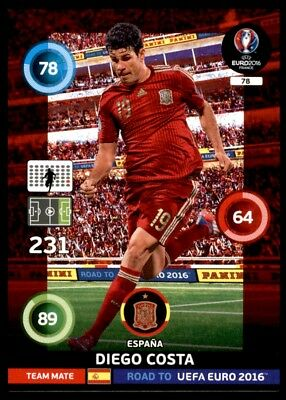 DIEGO COSTA ROAD TO EURO FRANCE 2016 ESPANA Adrenalyn Panini Card Limited