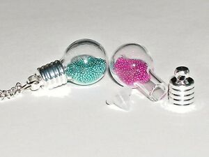 1 Make your own Christmas Snowglobe Round Glass bottle Pendant/Vials necklace ~