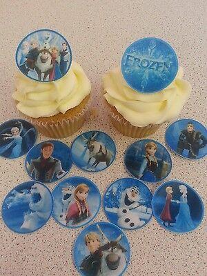 12 PRECUT Edible Frozen Discs wafer/rice paper cake/cupcake toppers