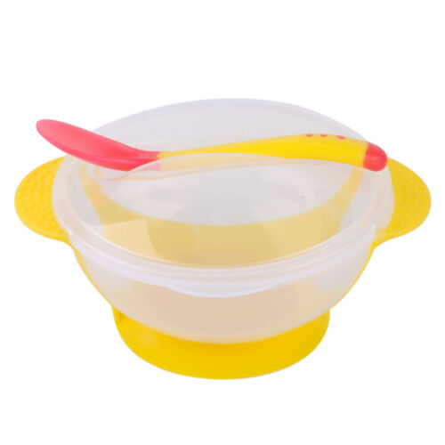 Baby Kids Self-Feeding Suction Bowl Spoon Tableware Temperature Color Changing
