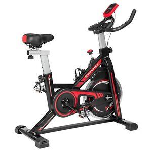 Speedbike Heimtrainer, Fitnessfahrrad Hometrainer mit Lenker Fußkorb Pulsmessung