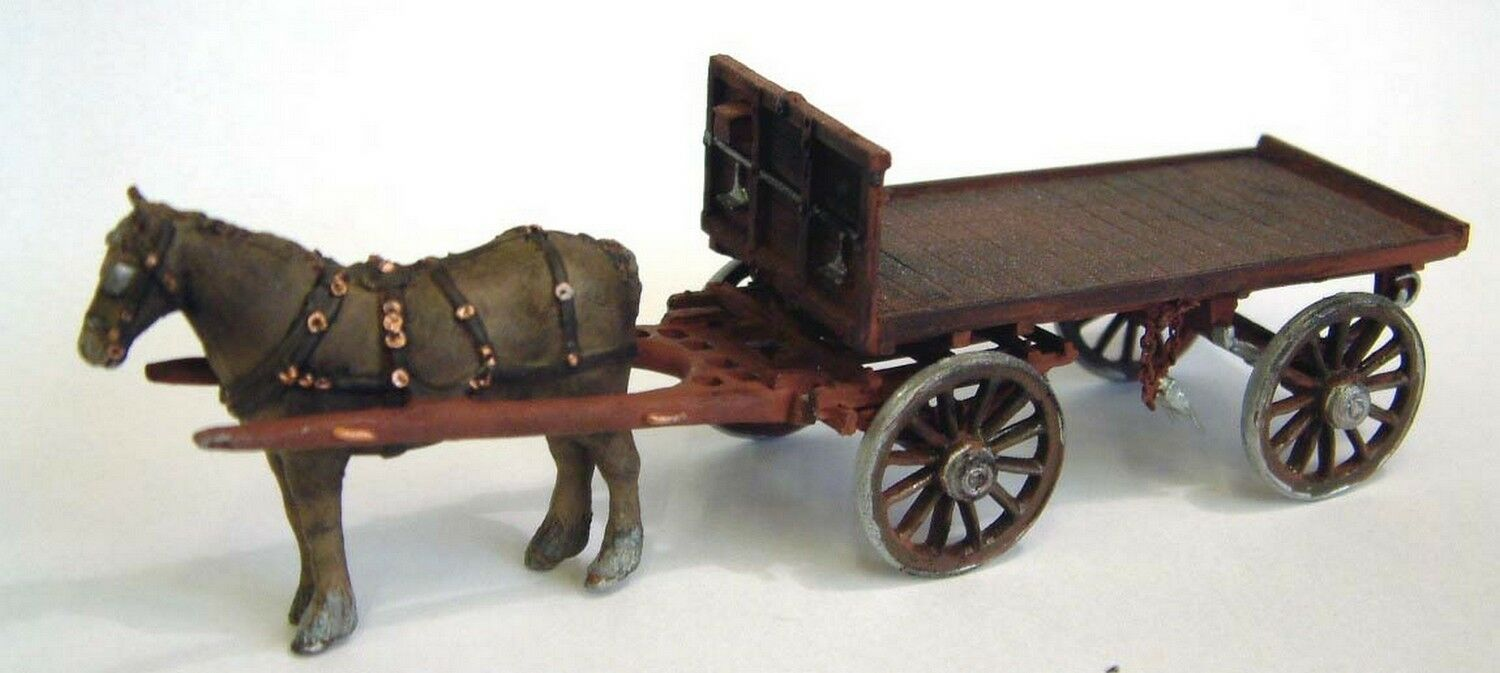 Horse Drawn Railway Flatbed Wagon O Scale 1 43 UNPAINTED Kit M23 Langley Models