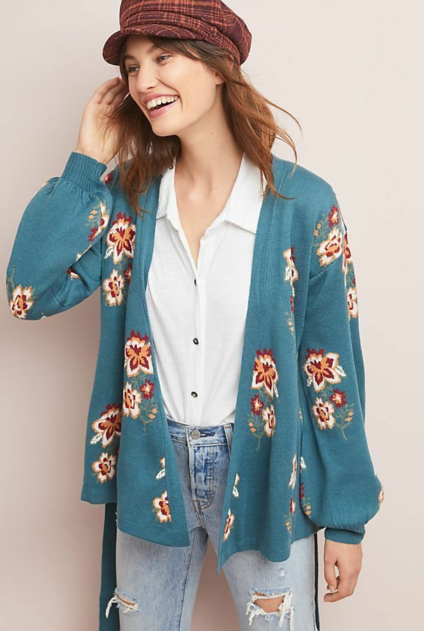 NWT NEW Anthropologie Floral Intarsia Wrapped Cardigan by Moth Size Small S