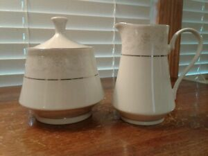 Crown-Ming-Fine-China-Queen-039-s-Lace-Jian-Shiang-Creamer-And-Sugar-With-Lid