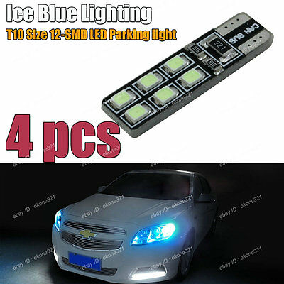 4-pc Deep Blue Error Free T10 2825 W5W LED Bulbs For Car Parking City Light A