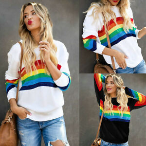 Women-Rainbow-Striped-Print-Hoodie-Pullover-Ladies-Long-Sleeve-Sweatshirt-Tops