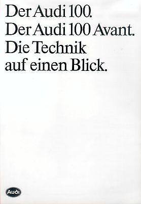 Audi 100 + Avant Technik Prospekt 1987 1/87 Brochure Specifications Prospectus Reinweiß Und LichtdurchläSsig