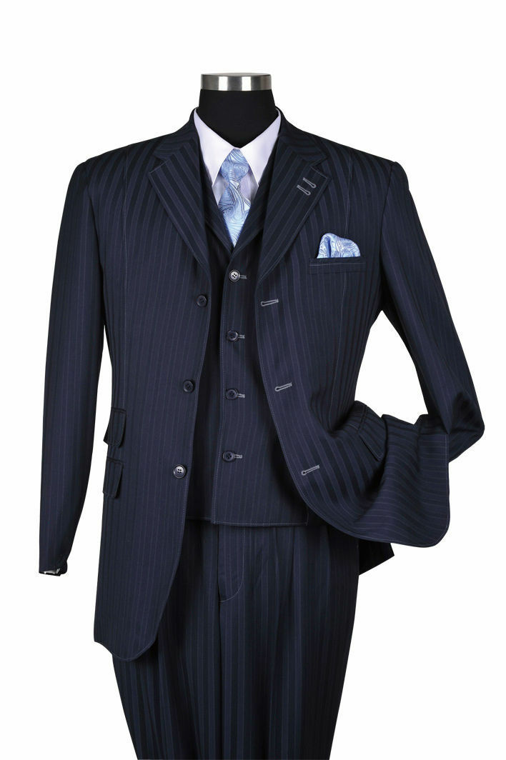 New Men's 3 piece Wool Feel Elegant and Classic Stripes Suit Navy 5267