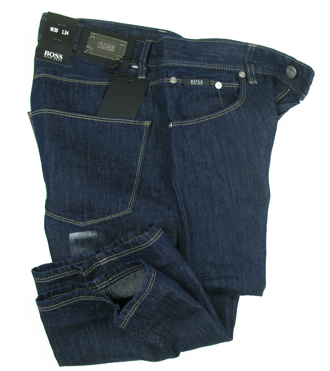 BOSS schwarz 5-Pocket Jeans OKLAHOMA in 30 34 navy Blau 33% Leinen