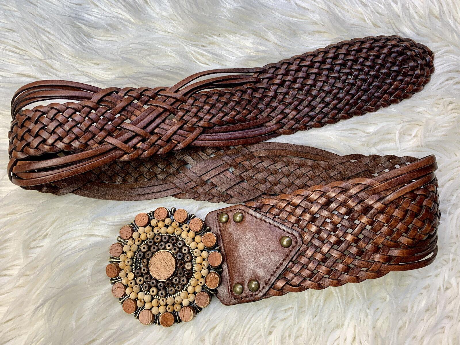 Wide Boho Brown Leather Belt Braided Wood Beads Buckle Gypsy Hippie Festival S