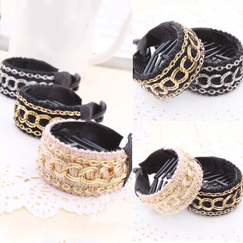 BE/_ Women Girl Fashion Barrette Ponytail Holder Hair Cuff Rope Ring Band New Details about  /HK