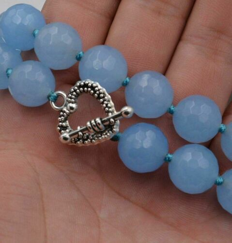 "8//10mm Naturel Facette Aquamarine Gems collier 18/"" Tibétain fermoir argent"