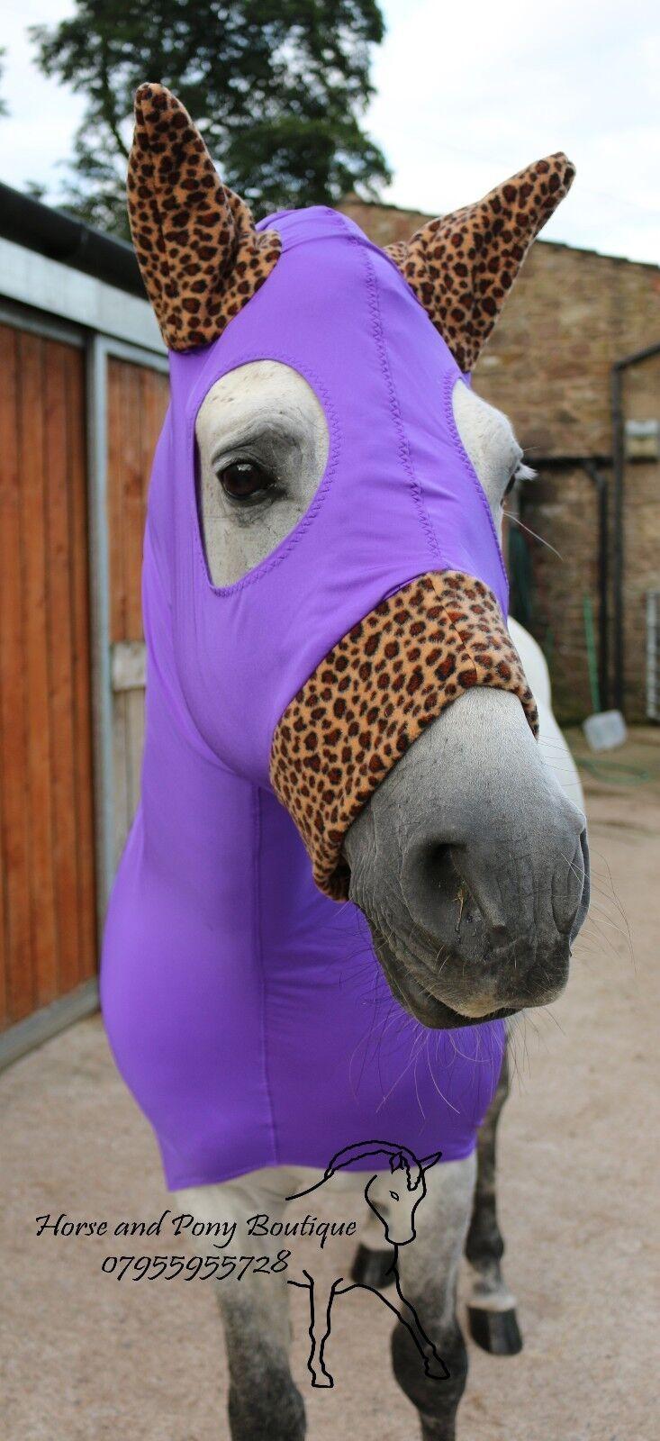 Cavallo in lycra viola cappuccio con finiture Stampa Leopardata, Cappuccio lycra HORSE SHOW