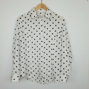 Sportscraft Women's Linen Shirt Button Up White Blue Polka Dots Collar Size 8