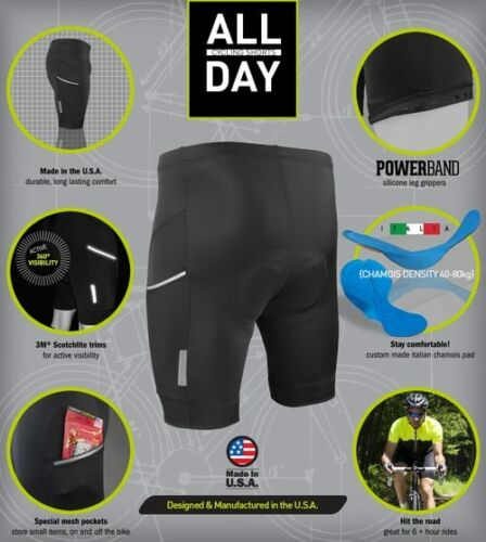 Aero Tech Designs Mens All Day Cycling Shorts with Reflective Side Pockets